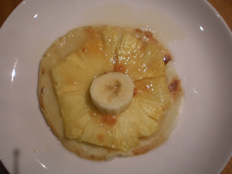 crêpe flambée à l'ananas et banane