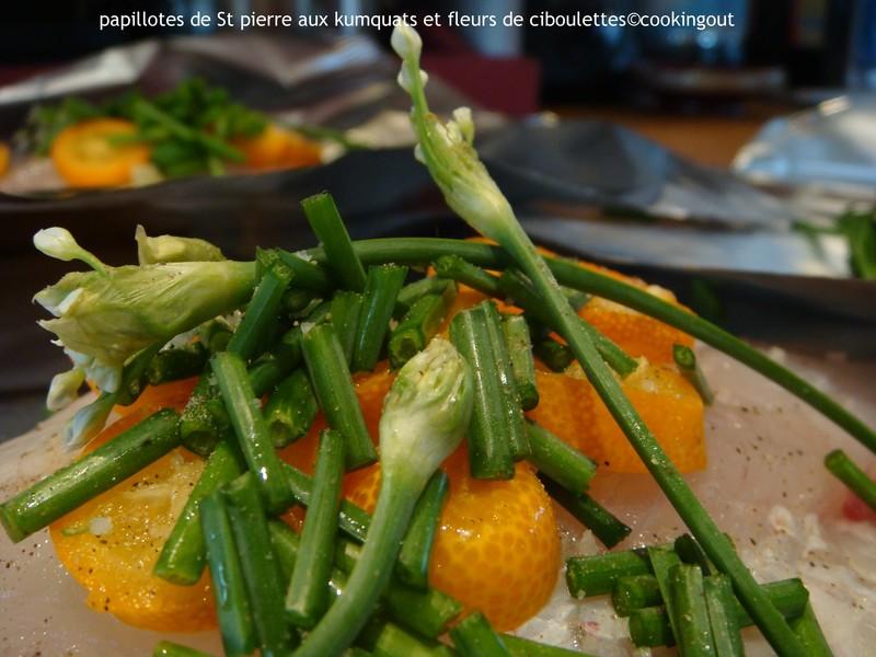 Filet de St Pierre aux fleurs de ciboulette thaï et aux kumquats