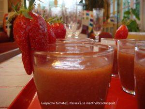 Gaspacho fraises tomates à la menthe