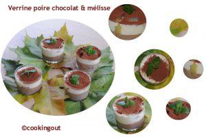 Verrine poire, chocolat et mélisse