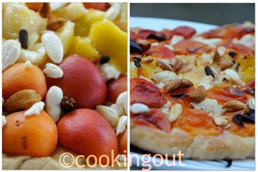 Tarte aux abricots et brousse, amandes fraîches et poivre long