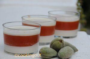panna cotta au lait d'amande, abricot, pêche et sirop de seringat