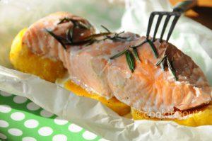 Papillote de saumon au butternut et romarin