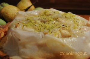 Pastilla de poires à la pistache