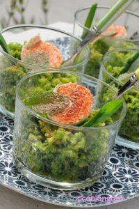 recette de verrine de petits pois frais, mozzarella et menthe