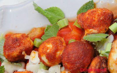Recette de salade de poivrons rouges avec ses boulettes de mozzarella
