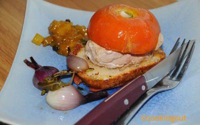 Burger de tomate, veau et son chutney