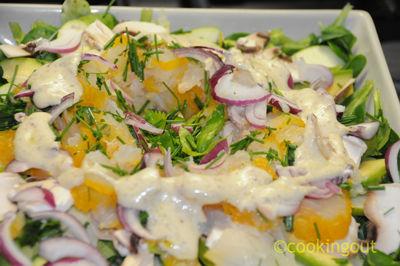 Salade fraîcheur au haddock cru, pomme verte et céleri branche