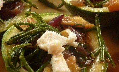 Courgettes de Nice à la salicorne et au chèvre frais