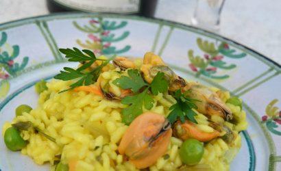 Recette de risotto safrané aux moules et petits pois