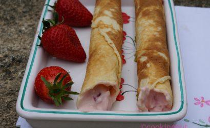 fraises, gaufres et caillette, un dessert à base de produits du Périgord