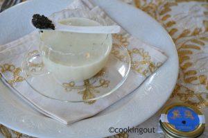 Caviar et son velouté de topinambour