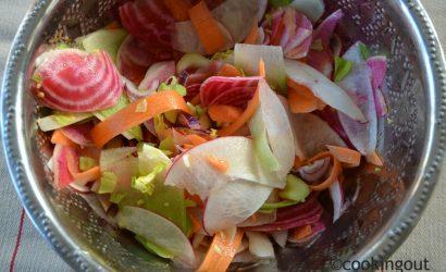Crudités d'hiver colorées aux radis blanc, red meat, green meat et chioggia