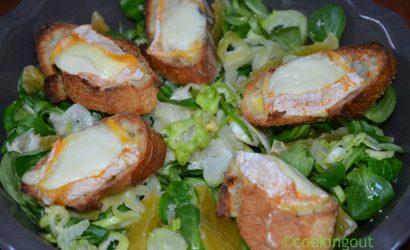 """Salade """"étrange"""" au Langres chaud, ugly et puntarelle"""