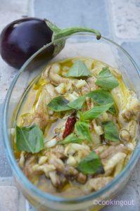 Recette d' aubergines confites à l'huile de colza parfumée à l'ail