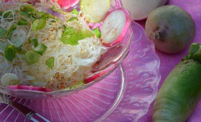 Recette de salade aux radis roses avec une sauce japonisante