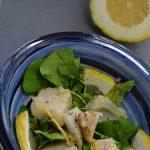 Une belle entrée une salade au cédrat, cresson et chou-fleur rôti