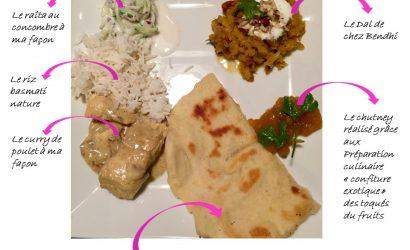 Repas indien avec Dal, Nan au fromage