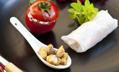 Tomate farcie au lapin, Rouleau de printemps au lapin, cuillère de lapin au yuzu