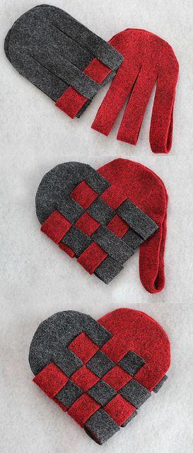coeur tressés danois en feutrine