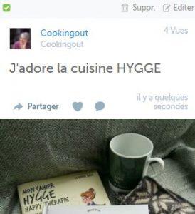 Tous les billets parus sur les réseaux sociaux sur le livre de recettes j'adore le Hygge