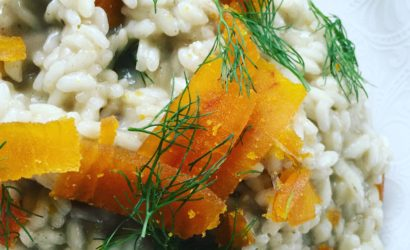 Risotto poutargue et beurre blanc pour un repas de Noël à l'italienne