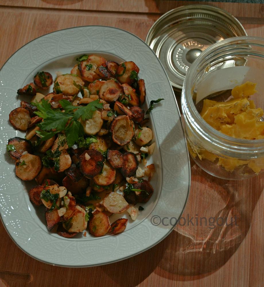 recette de cerfeuil tubéreux cuisinés avec de la graisse d'oie