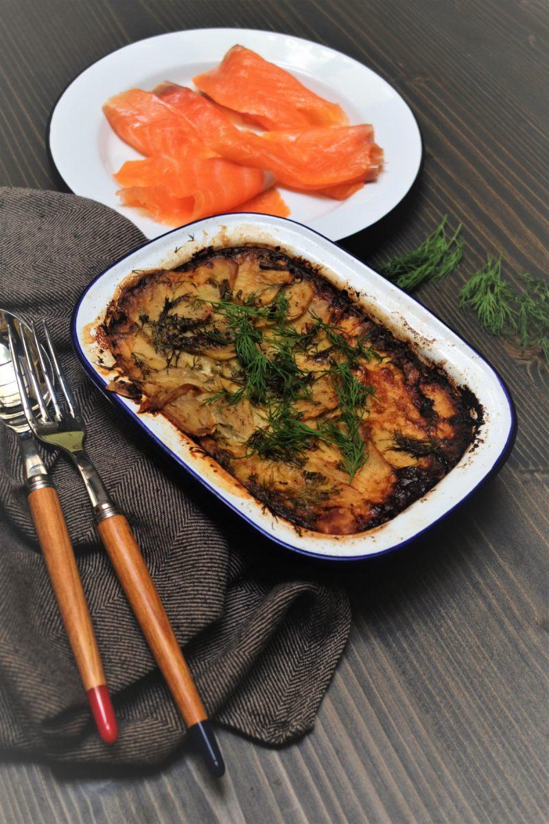Laxpudding, gratin de pomme de terre au saumon fumé, recette spéciale pâques