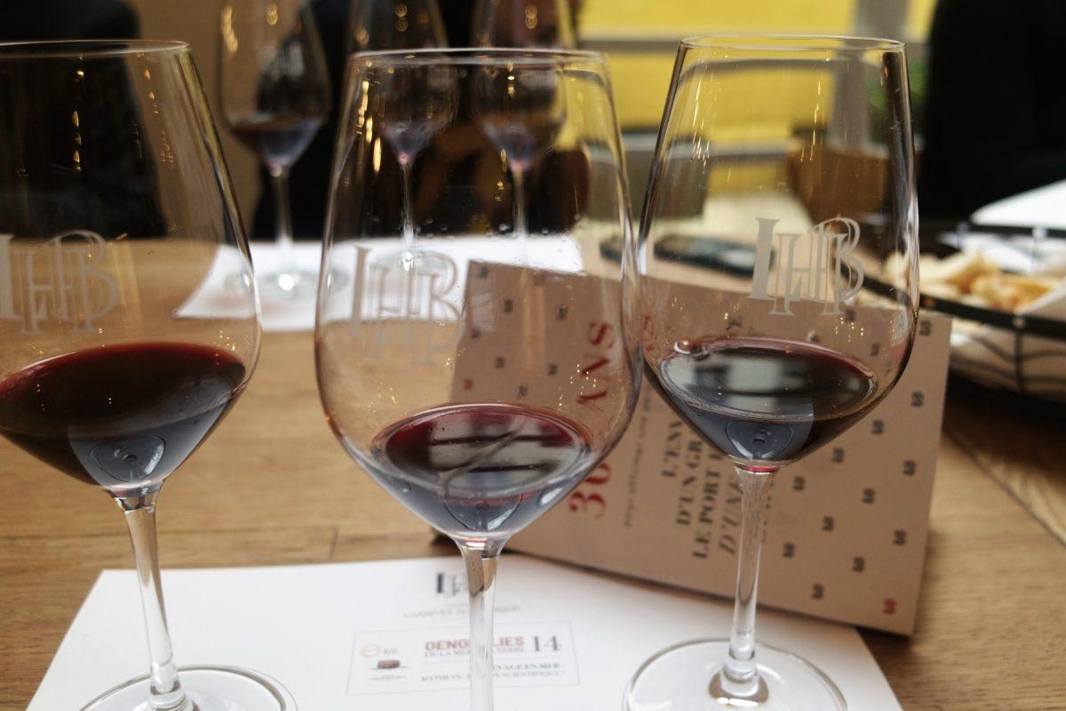 Les 3 verres de vin de chateau Haut Brion