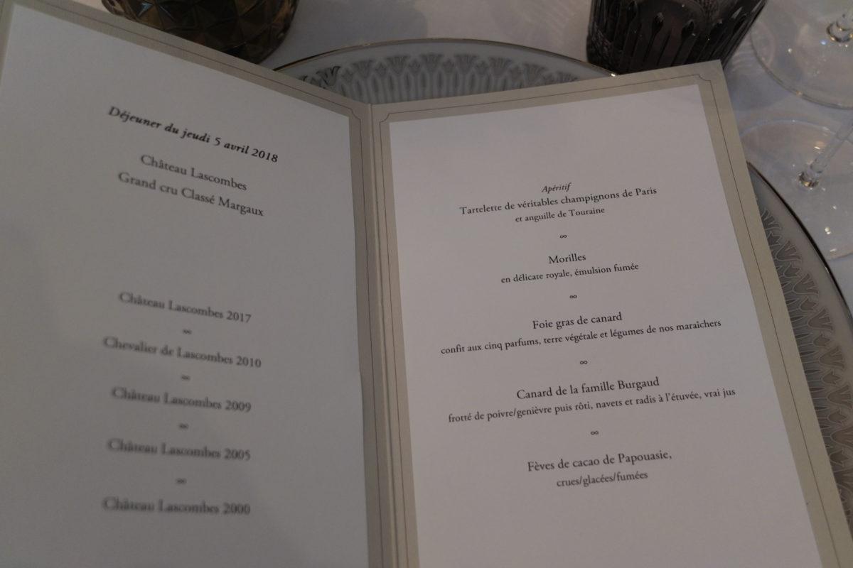 Menu déjeuner presse à l'Abeille avec le Château Lascombes