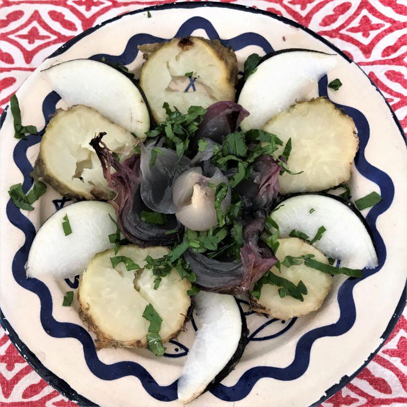 salade de céleri rave et oignon radis noir et persil