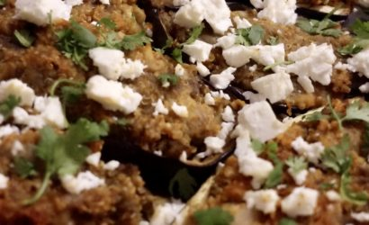 plat d'aubergines farcies au quinoa et ricotta