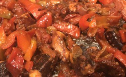 recette de poulpe aux poivrons et tomates façon basquaise