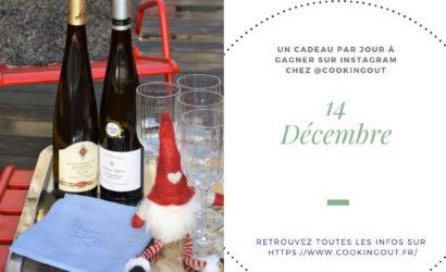 Quatorzième case du calendrier de l'Avent deux bouteilles de vins d'Alsace vendanges tardives