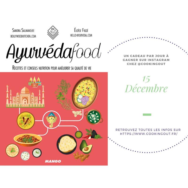 Quinzième case du calendrier de l'Avent le livre Ayurvedafood de Sandra Salmnajee
