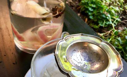 tasse d'eau d'hiver infusée aux peaux de pommes et trognons avec des épices