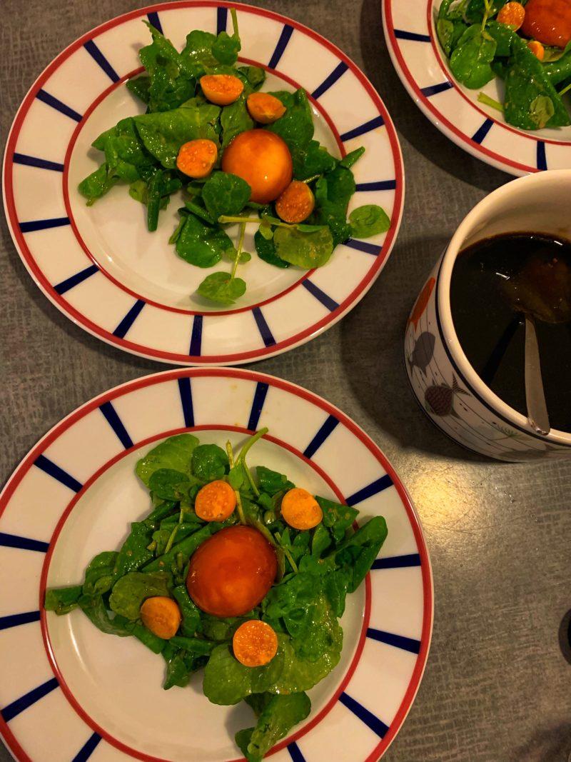 assiettes de salade de cresson et œufs cuit au soja