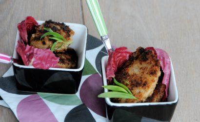céleri rave pané avec une panelure aux amandes et aux épices