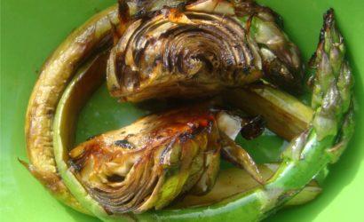 légumes cuits à la plancha et déglacé au miel de châtaigner