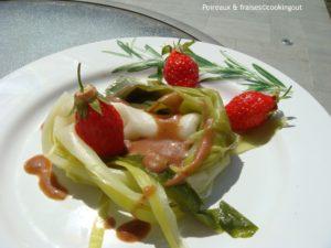 poireaux vapeur, vinaigrette à la fraise