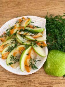 Haddock et pommes marinés au citron parfumé à l'aneth