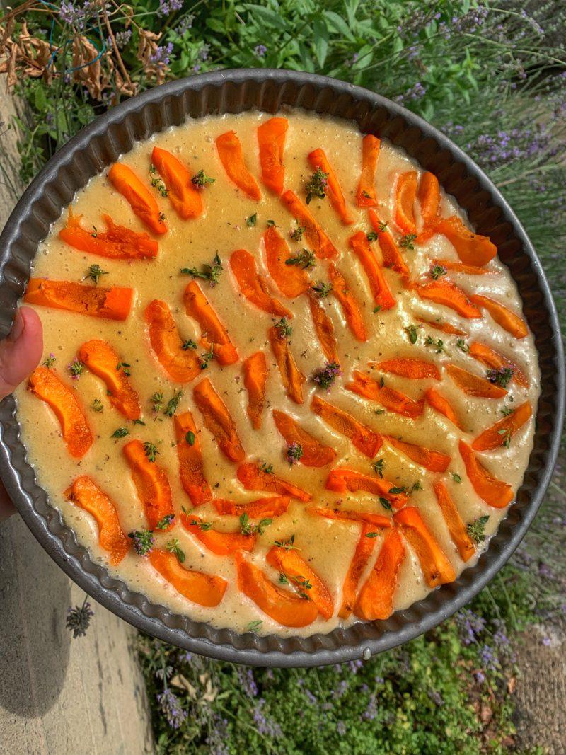 financier aux abricots avant cuisson