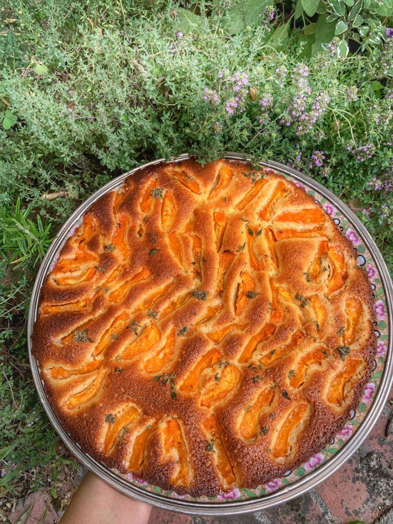 recette de gâteau avec une base de financier abricots et fleurs de thym