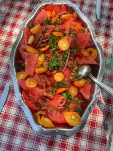 recette de salade de tomates pastèque kumquat et groseille