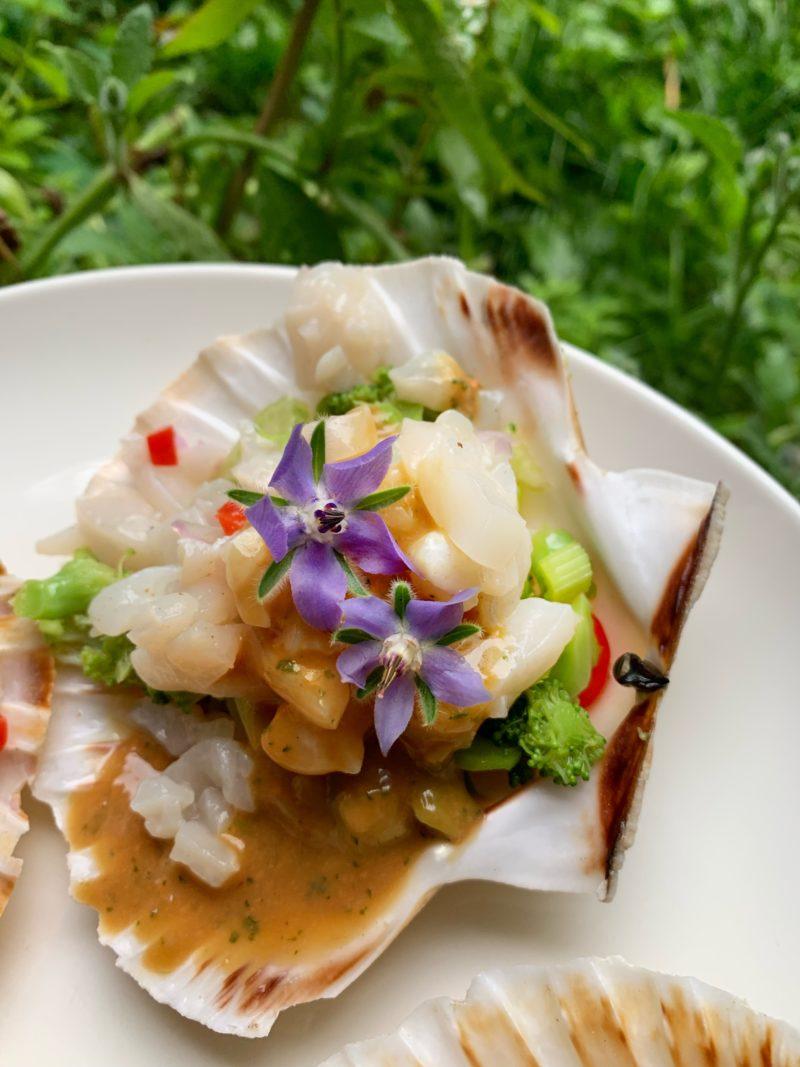 tartare de St Jacques sur salade de légume et parfumé à la bourrache sauce au corail