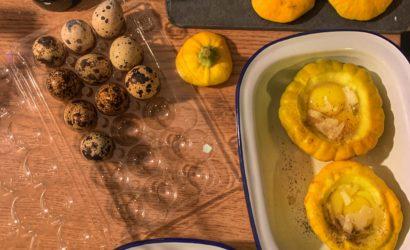 Les ingrédients pour réaliser œufs de caille en cocotte de patissons