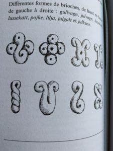 exemple de façonnages des lussekatter provenant du livre la cuisine nordique de Magnus Nilsson
