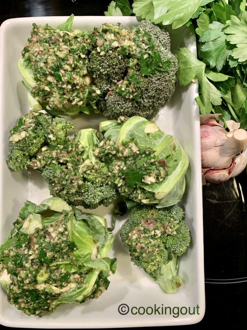 Brocoli et chou fleur rôti au four ail et persil
