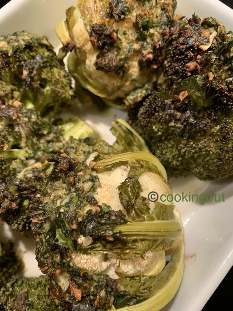 chou-fleur et brocolis cuits aux anchois, à l'ail et au persil