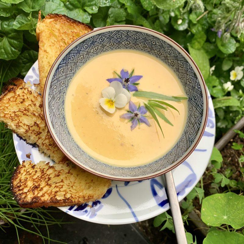 soupe camembert mouillettes de brioche